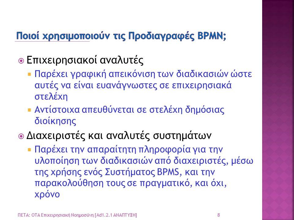 Ποιοί χρησιμοποιούν τις Προδιαγραφές BPMN;