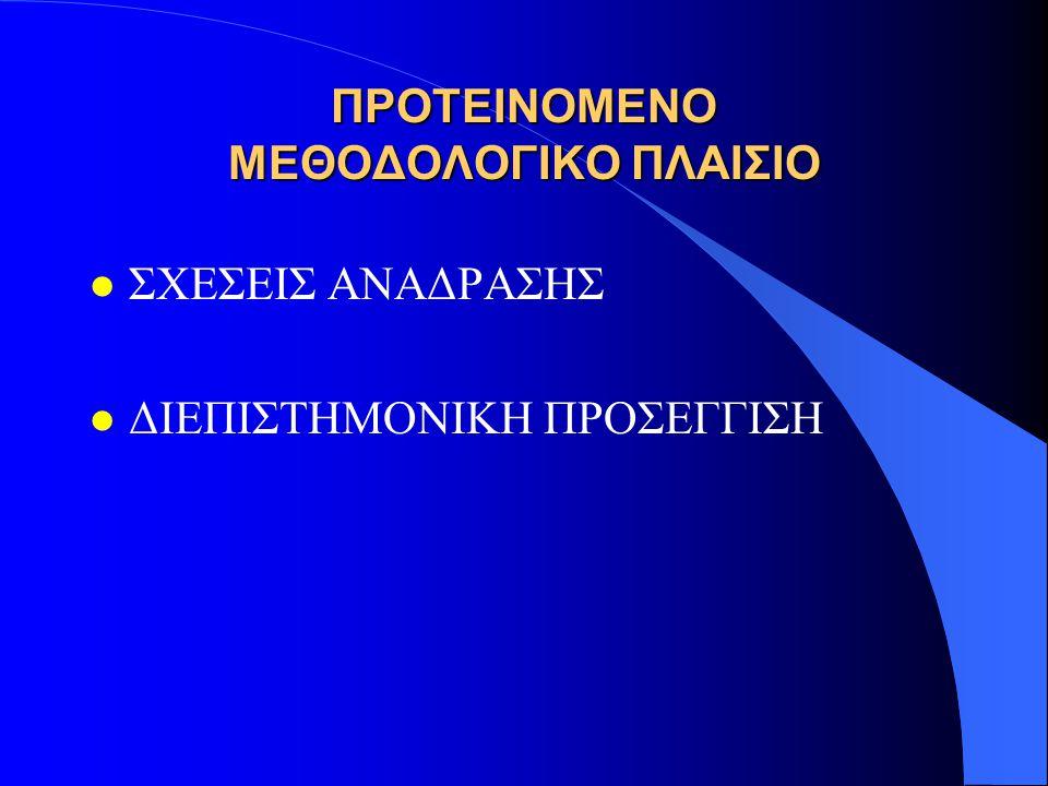 ΠΡΟΤΕΙΝΟΜΕΝΟ ΜΕΘΟΔΟΛΟΓΙΚΟ ΠΛΑΙΣΙΟ