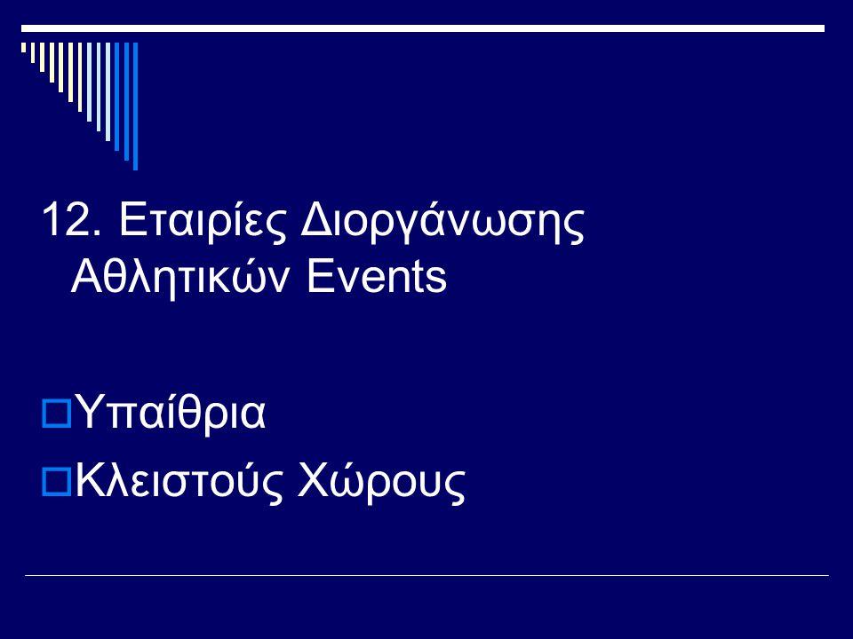12. Εταιρίες Διοργάνωσης Αθλητικών Events
