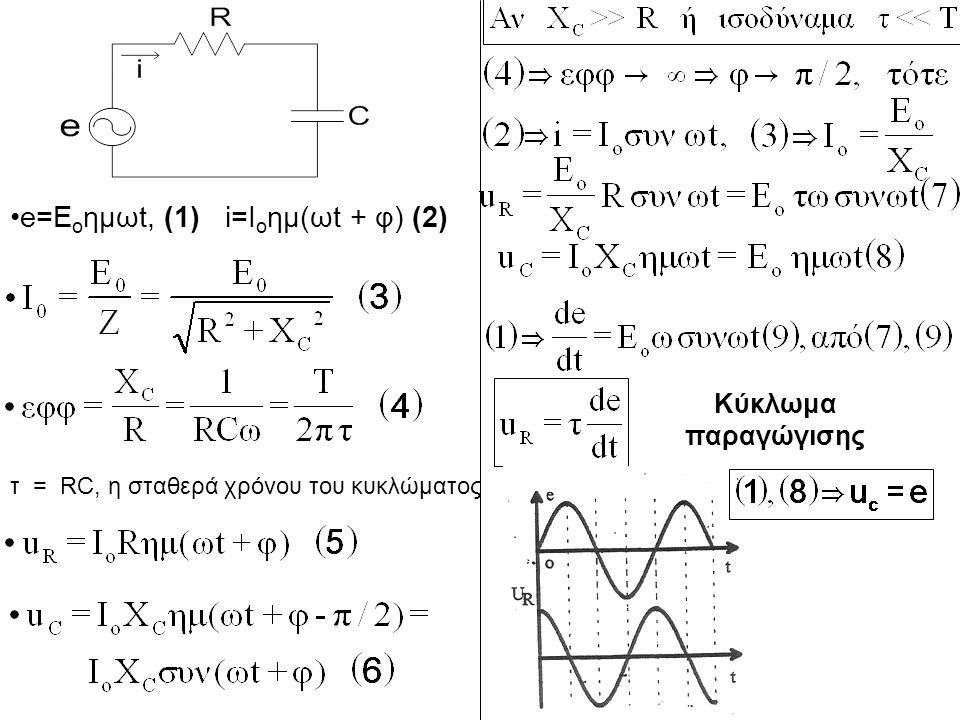 e=Eoημωt, (1) i=Ioημ(ωt + φ) (2)