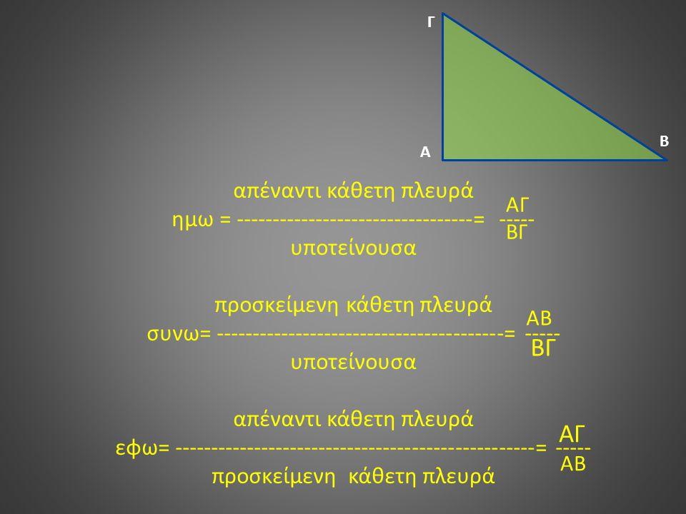 απέναντι κάθετη πλευρά ημω = ---------------------------------= ----- υποτείνουσα προσκείμενη κάθετη πλευρά συνω= ----------------------------------------= ----- υποτείνουσα απέναντι κάθετη πλευρά εφω= --------------------------------------------------= ----- προσκείμενη κάθετη πλευρά