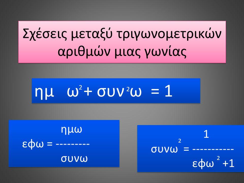 Σχέσεις μεταξύ τριγωνομετρικών αριθμών μιας γωνίας