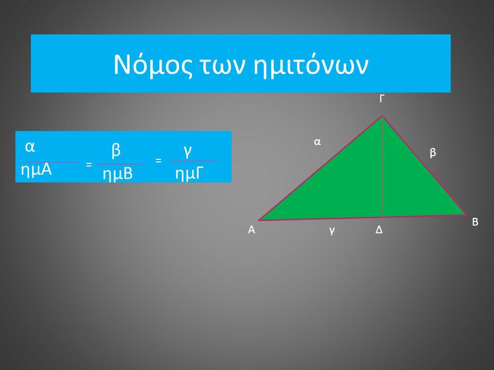 Νόμος των ημιτόνων Γ α ημΑ α β ημΒ γ ημΓ β = = Β Α γ Δ