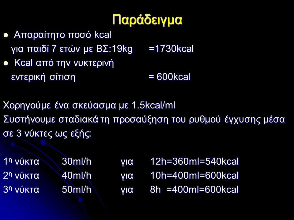 Παράδειγμα Απαραίτητο ποσό kcal για παιδί 7 ετών με ΒΣ:19kg =1730kcal