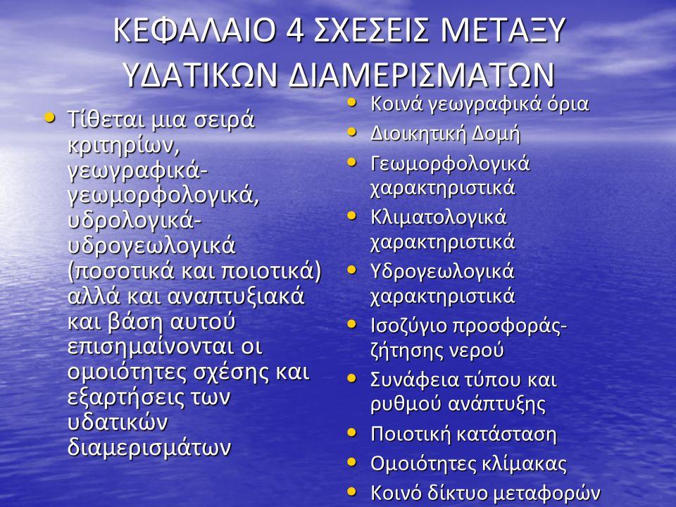 ΚΕΦΑΛΑΙΟ 4 ΣΧΕΣΕΙΣ ΜΕΤΑΞΥ ΥΔΑΤΙΚΩΝ ΔΙΑΜΕΡΙΣΜΑΤΩΝ