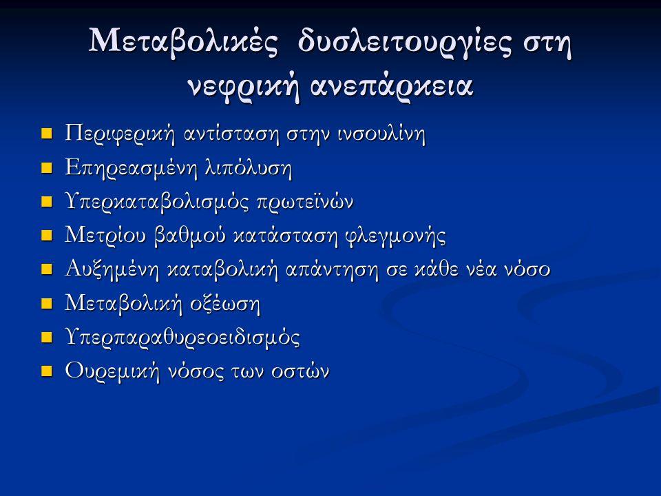 Μεταβολικές δυσλειτουργίες στη νεφρική ανεπάρκεια