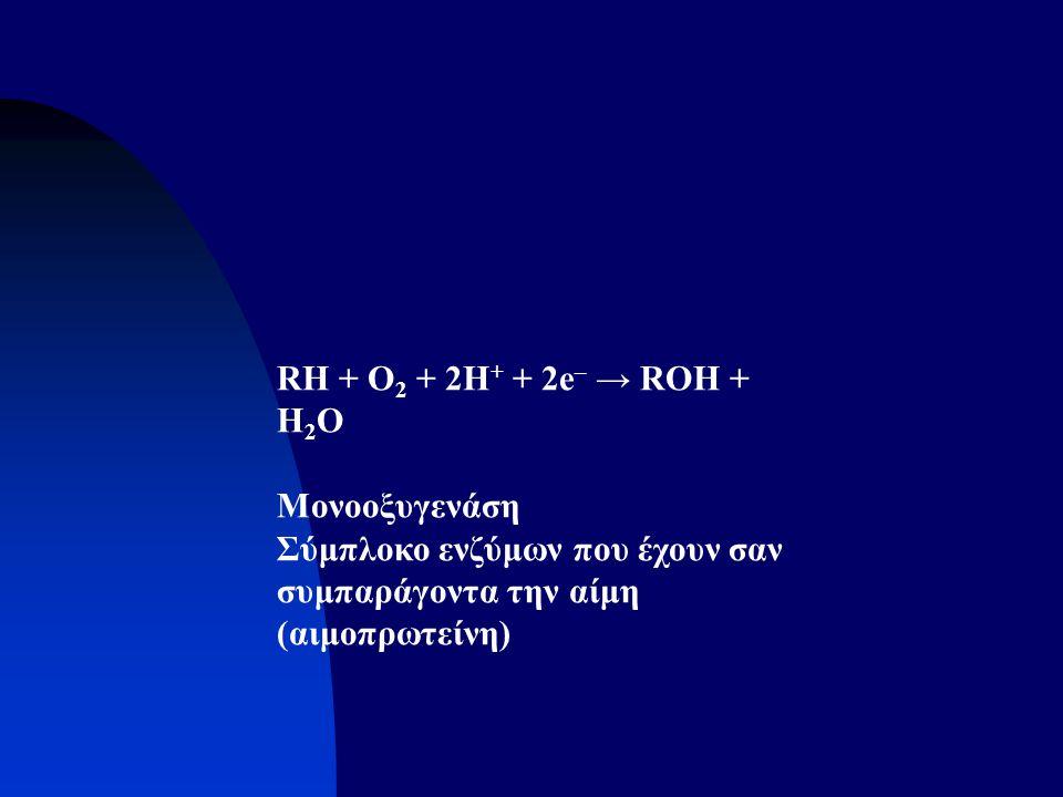 RH + O2 + 2H+ + 2e– → ROH + H2O Μονοοξυγενάση.