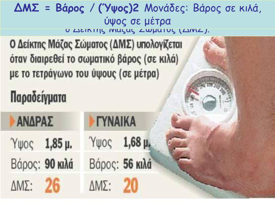 ΔΜΣ = Βάρος / (Ύψος)2 Μονάδες: Βάρος σε κιλά, ύψος σε μέτρα