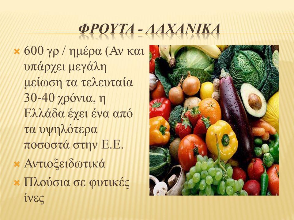 ΦροΥτα - λαχανικΑ 600 γρ / ημέρα (Αν και υπάρχει μεγάλη μείωση τα τελευταία 30-40 χρόνια, η Ελλάδα έχει ένα από τα υψηλότερα ποσοστά στην Ε.Ε.