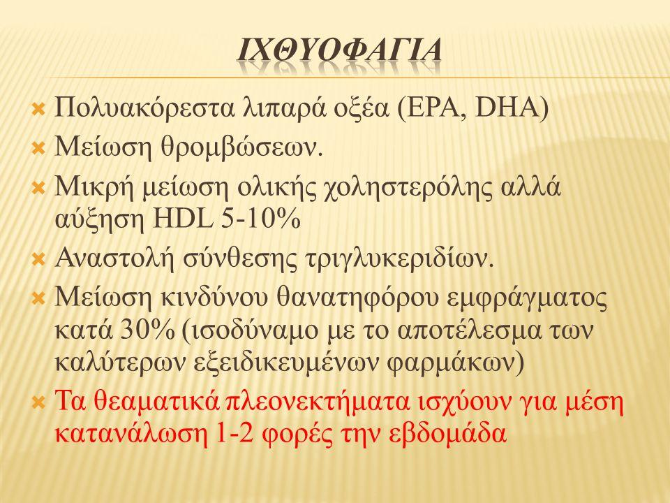 ΙχθυοφαγΙα Πολυακόρεστα λιπαρά οξέα (EPA, DHA) Μείωση θρομβώσεων.