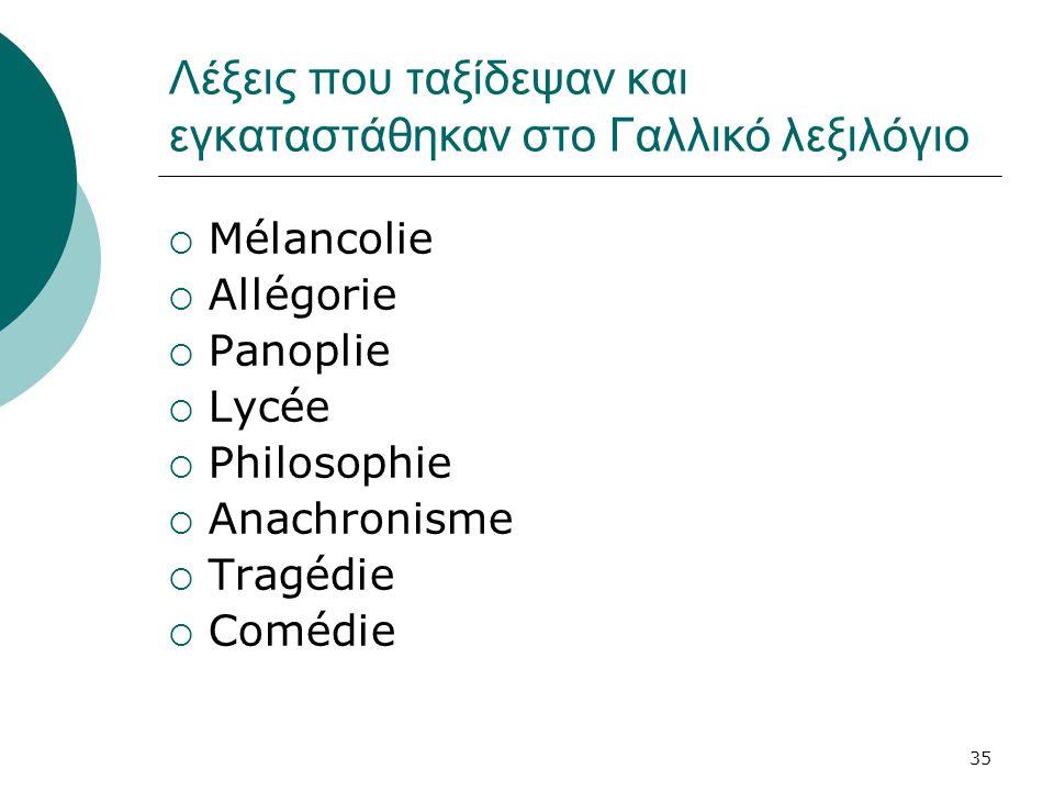 Λέξεις που ταξίδεψαν και εγκαταστάθηκαν στο Γαλλικό λεξιλόγιο