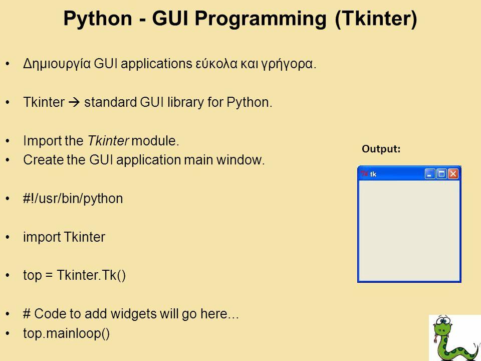 Python - GUI Programming (Tkinter)