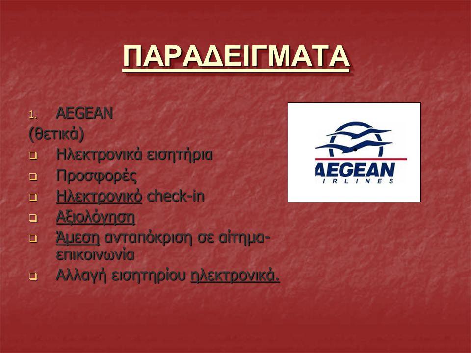 ΠΑΡΑΔΕΙΓΜΑΤΑ AEGEAN (θετικά) Hλεκτρονικά εισητήρια Προσφορές