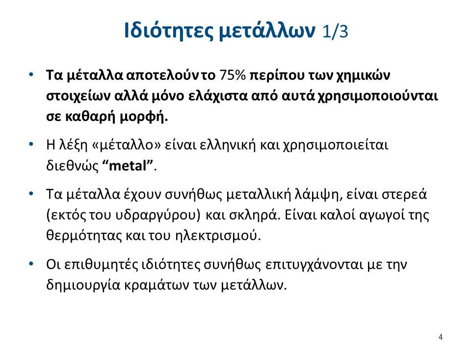 Ιδιότητες μετάλλων 2/3 Υψηλή πυκνότητα. Μεγάλη ατομική ακτίνα.