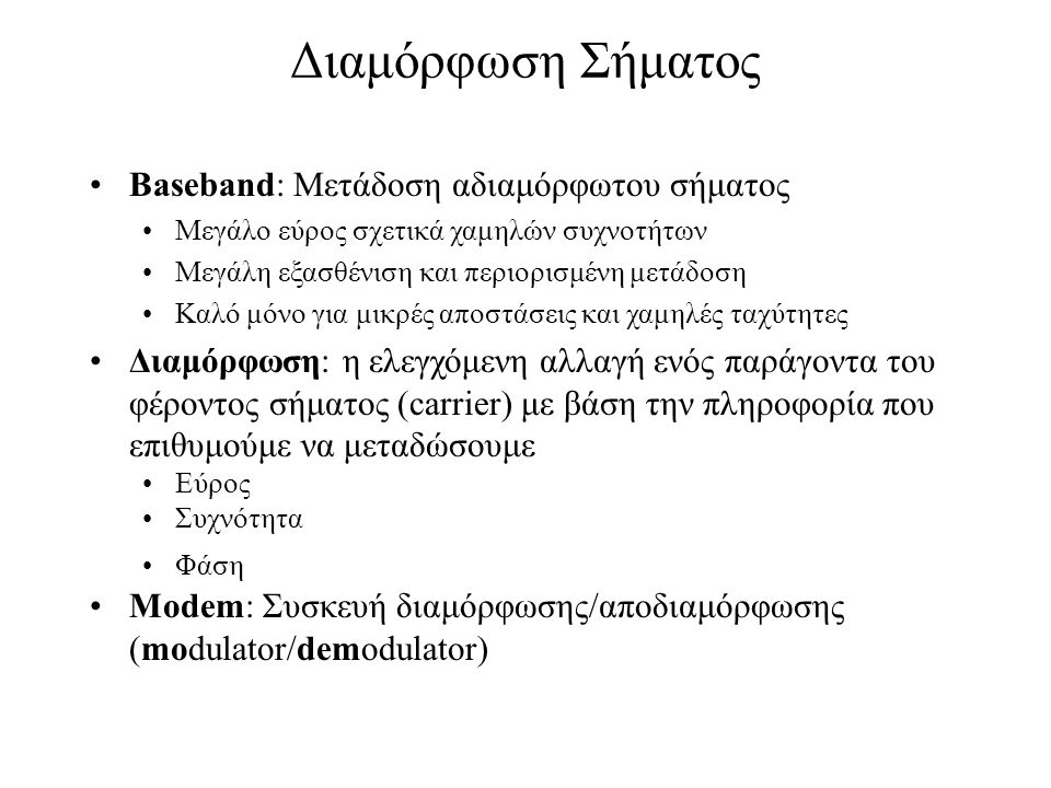 Διαμόρφωση Σήματος Baseband: Μετάδοση αδιαμόρφωτου σήματος