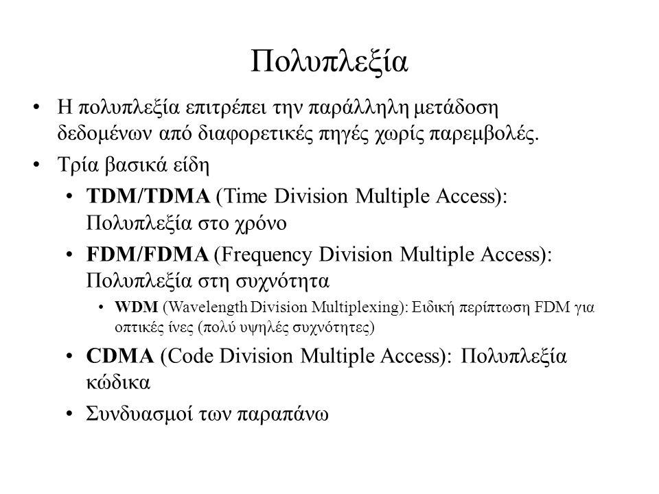 Πολυπλεξία Η πολυπλεξία επιτρέπει την παράλληλη μετάδοση δεδομένων από διαφορετικές πηγές χωρίς παρεμβολές.
