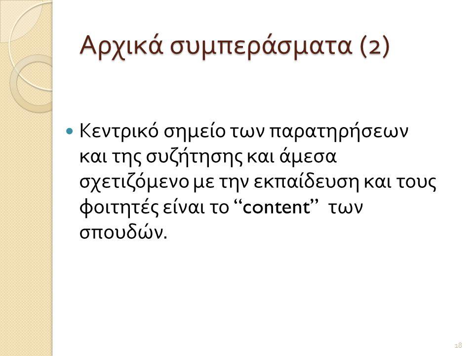 Αρχικά συμπεράσματα (2)