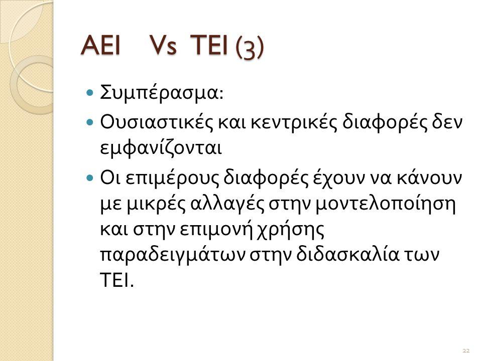 AEI Vs TEI (3) Συμπέρασμα: