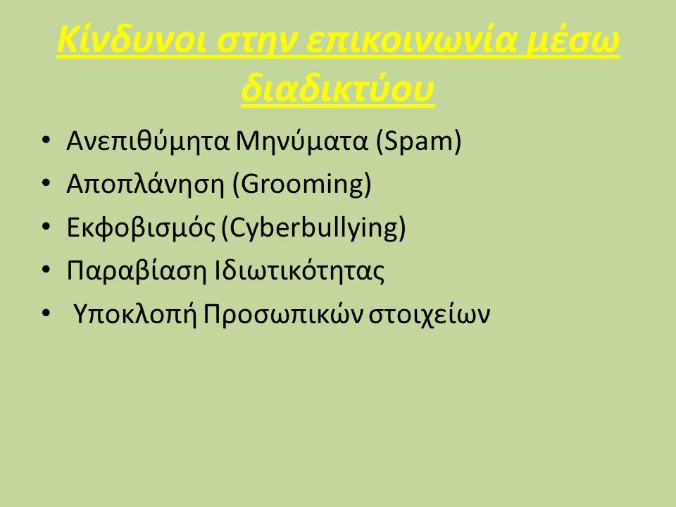 Κίνδυνοι στην επικοινωνία μέσω διαδικτύου