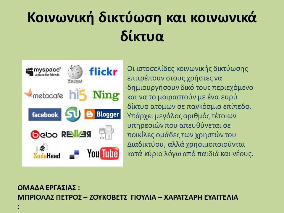 Κοινωνική δικτύωση και κοινωνικά δίκτυα