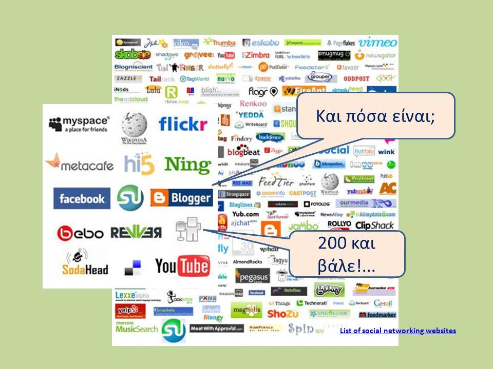 Και πόσα είναι; 200 και βάλε!... List of social networking websites