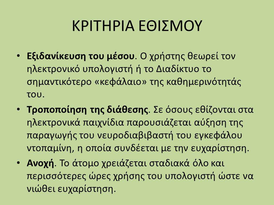 ΚΡΙΤΗΡΙΑ ΕΘΙΣΜΟΥ
