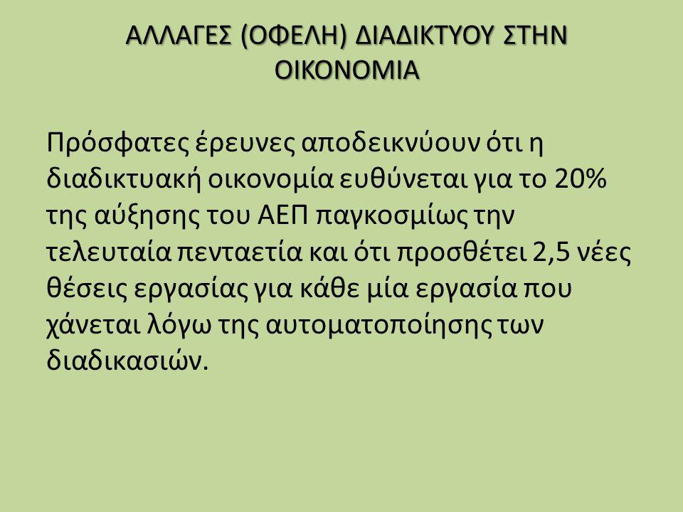 ΑΛΛΑΓΕΣ (ΟΦΕΛΗ) ΔΙΑΔΙΚΤΥΟΥ ΣΤΗΝ ΟΙΚΟΝΟΜΙΑ