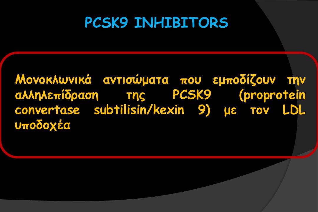 PCSK9 INHIBITORS Μονοκλωνικά αντισώματα που εμποδίζουν την αλληλεπίδραση της PCSK9 (proprotein convertase subtilisin/kexin 9) με τον LDL υποδοχέα.