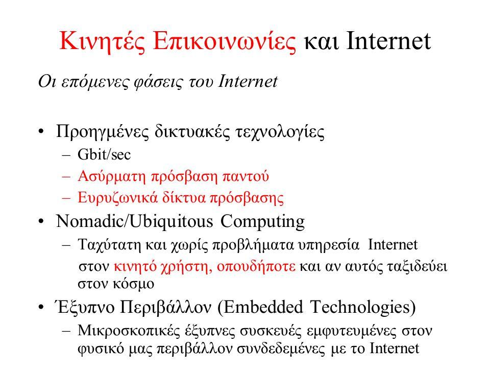 Κινητές Επικοινωνίες και Internet