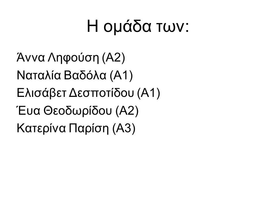 Η ομάδα των: Άννα Ληφούση (Α2) Ναταλία Βαδόλα (Α1)