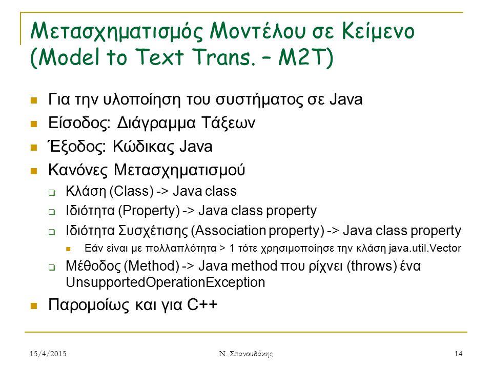Μετασχηματισμός Μοντέλου σε Κείμενο (Model to Text Trans. – M2T)
