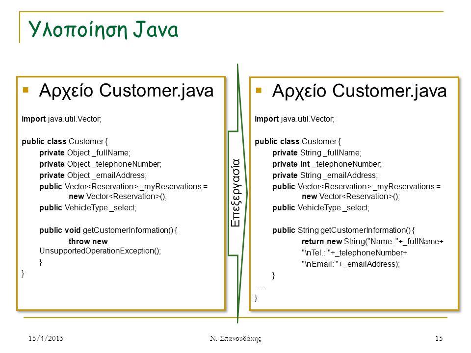 Υλοποίηση Java Αρχείο Customer.java Αρχείο Customer.java Επεξεργασία