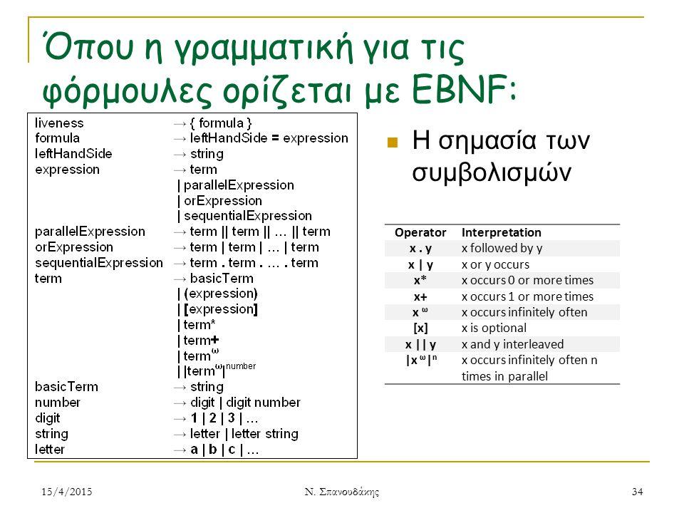 Όπου η γραμματική για τις φόρμουλες ορίζεται με EBNF: