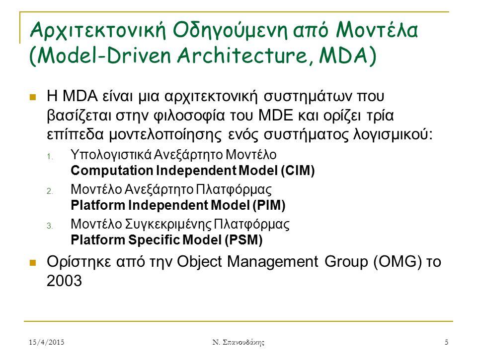 Αρχιτεκτονική Οδηγούμενη από Μοντέλα (Model-Driven Architecture, MDA)