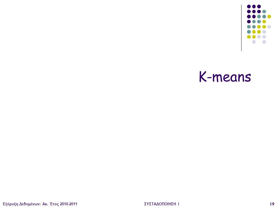 K-means Εξόρυξη Δεδομένων: Ακ. Έτος 2010-2011 ΣΥΣΤΑΔΟΠΟΙΗΣΗ Ι