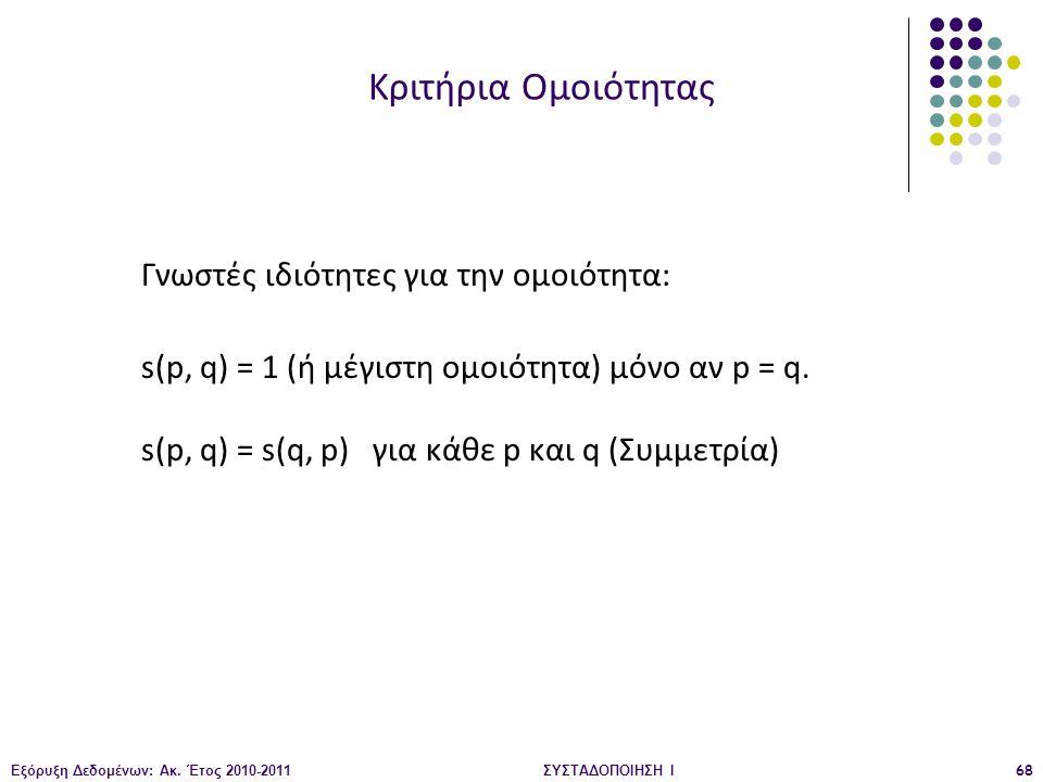 Κριτήρια Ομοιότητας Γνωστές ιδιότητες για την ομοιότητα: