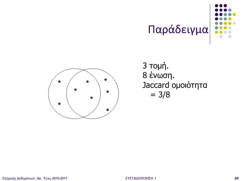 Παράδειγμα 3 τομή. 8 ένωση. Jaccard ομοιότητα = 3/8