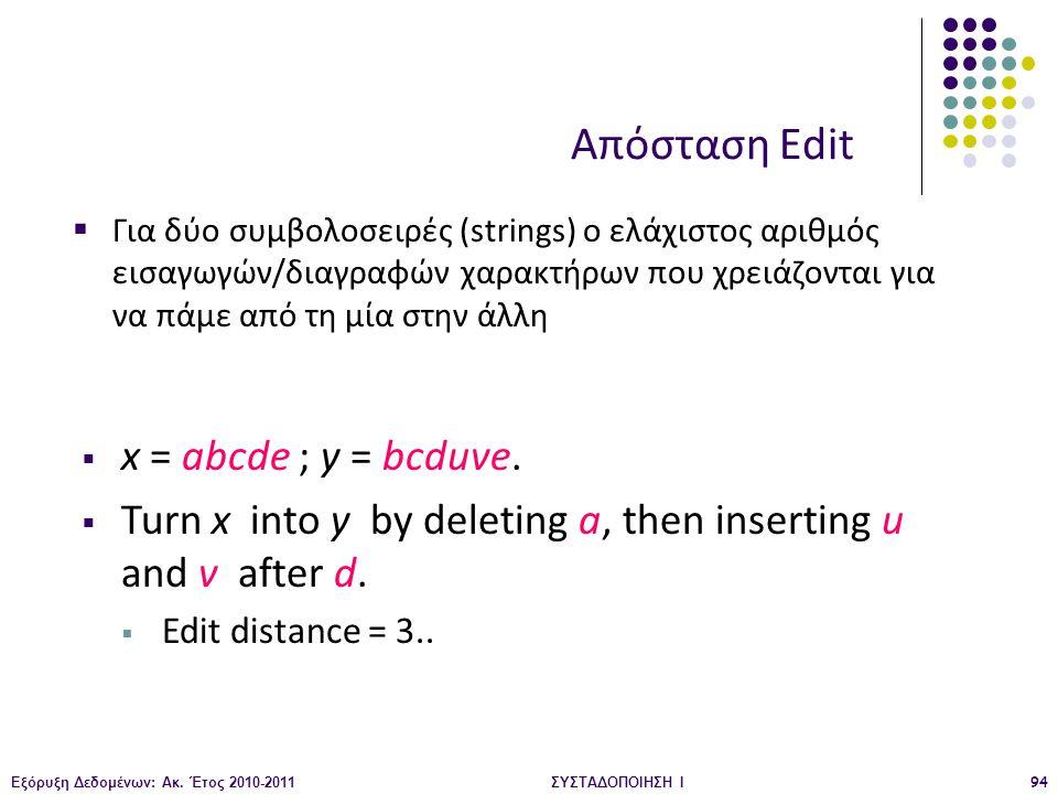 Απόσταση Edit x = abcde ; y = bcduve.