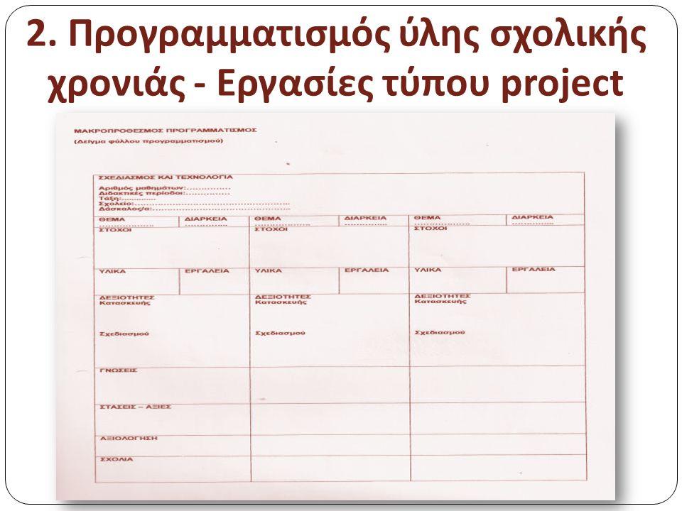 2. Προγραμματισμός ύλης σχολικής χρονιάς - Εργασίες τύπου project