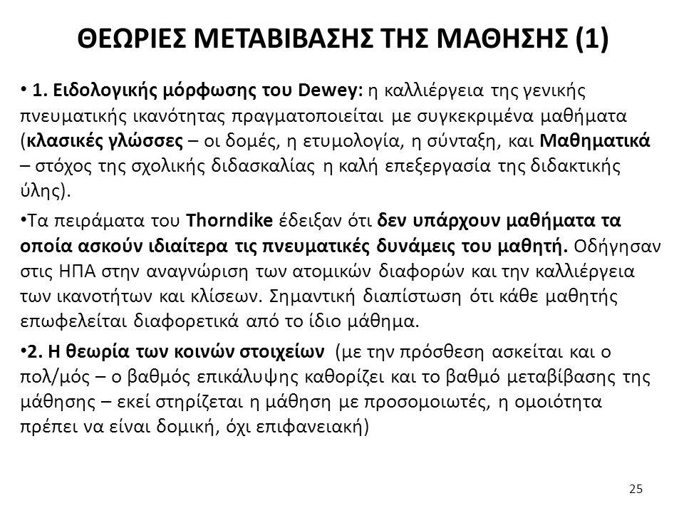 ΘΕΩΡΙΕΣ ΜΕΤΑΒΙΒΑΣΗΣ ΤΗΣ ΜΑΘΗΣΗΣ (1)
