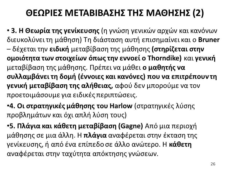 ΘΕΩΡΙΕΣ ΜΕΤΑΒΙΒΑΣΗΣ ΤΗΣ ΜΑΘΗΣΗΣ (2)