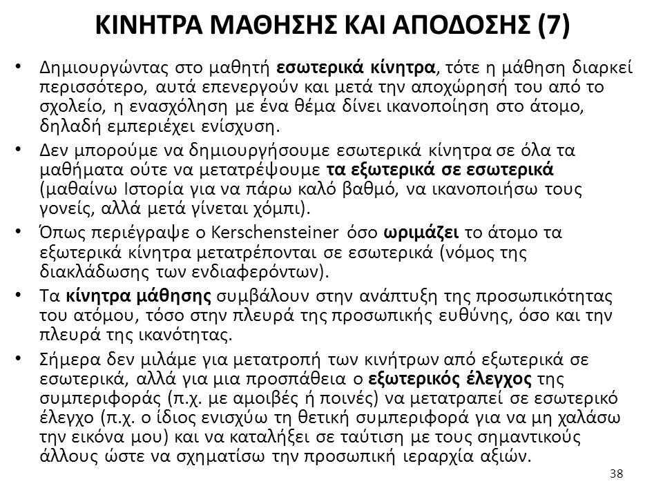 ΚΙΝΗΤΡΑ ΜΑΘΗΣΗΣ ΚΑΙ ΑΠΟΔΟΣΗΣ (7)