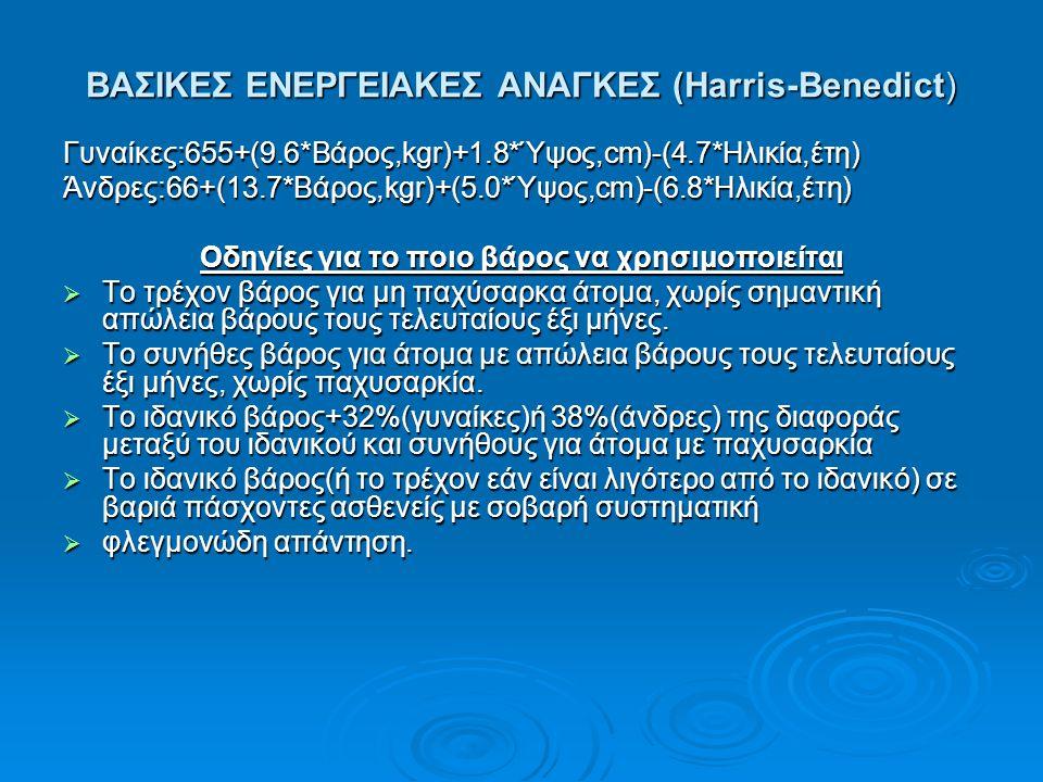 BAΣΙΚΕΣ ΕΝΕΡΓΕΙΑΚΕΣ ΑΝΑΓΚΕΣ (Harris-Benedict)
