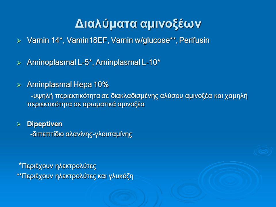 Διαλύματα αμινοξέων Vamin 14*, Vamin18EF, Vamin w/glucose**, Perifusin