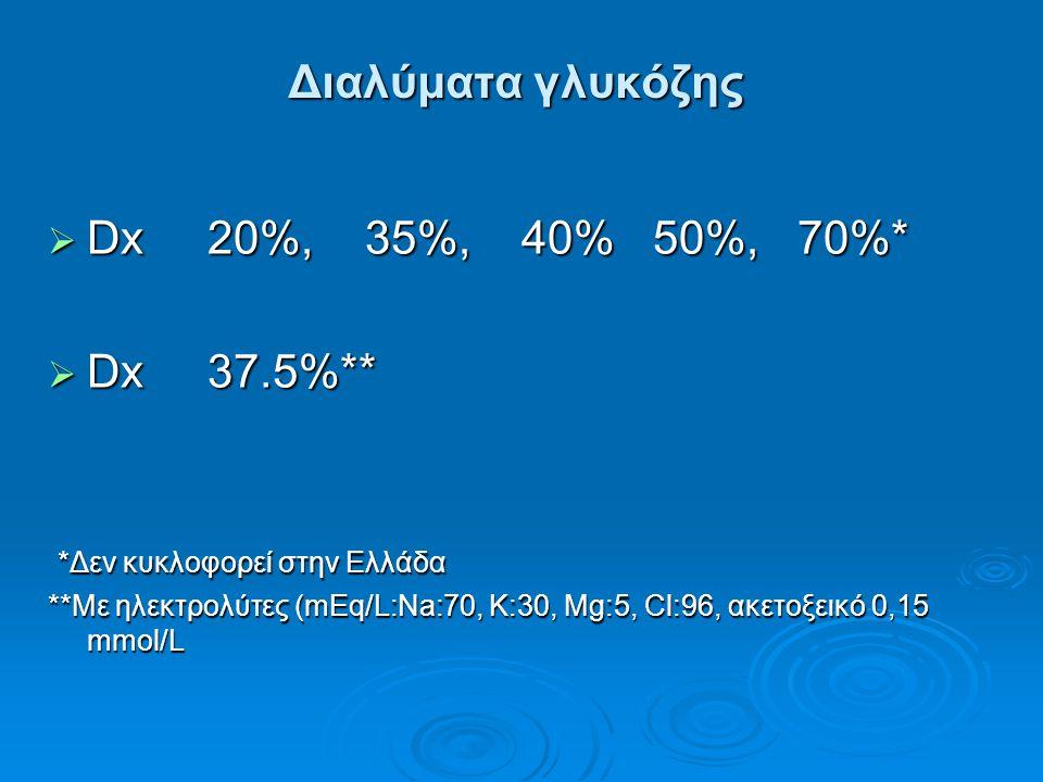 Διαλύματα γλυκόζης Dx 20%, 35%, 40% 50%, 70%* Dx 37.5%**