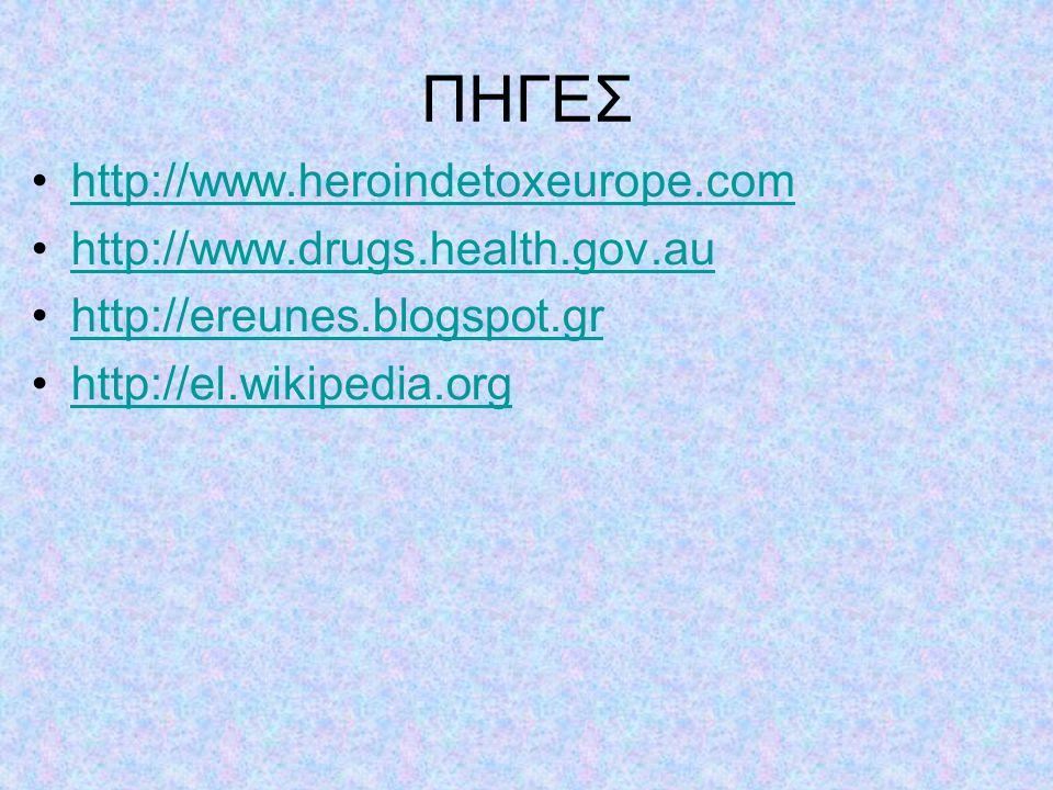ΠΗΓΕΣ http://www.heroindetoxeurope.com http://www.drugs.health.gov.au