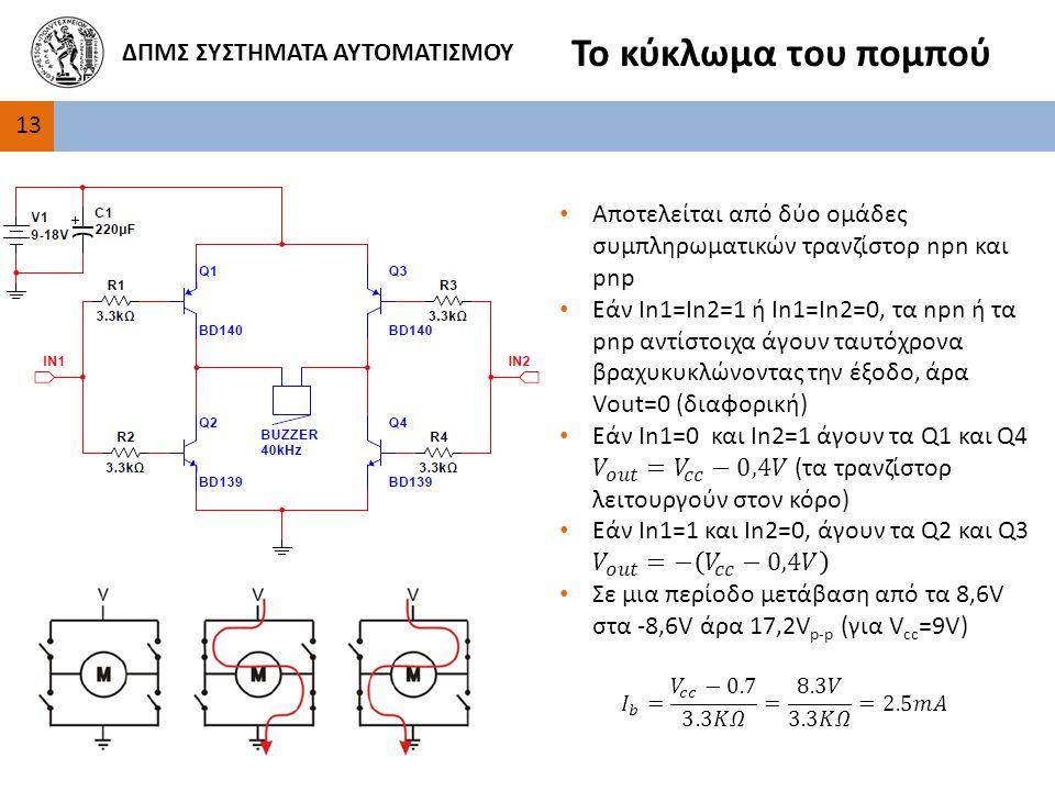 Το κύκλωμα του πομπού ΔΠΜΣ ΣΥΣΤΗΜΑΤΑ ΑΥΤΟΜΑΤΙΣΜΟΥ 13