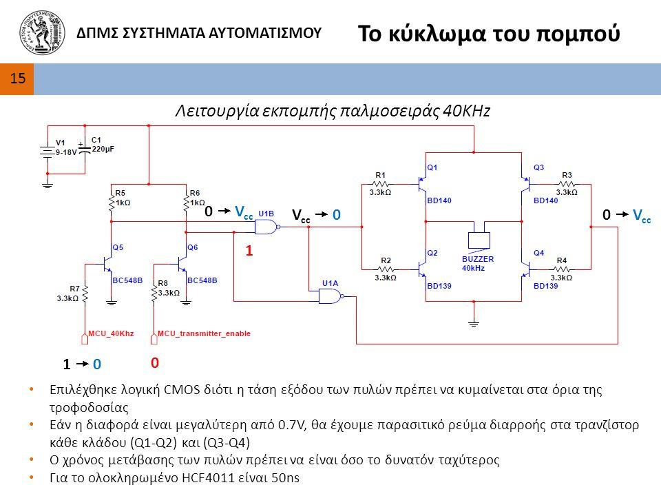 Το κύκλωμα του πομπού Λειτουργία εκπομπής παλμοσειράς 40KHz