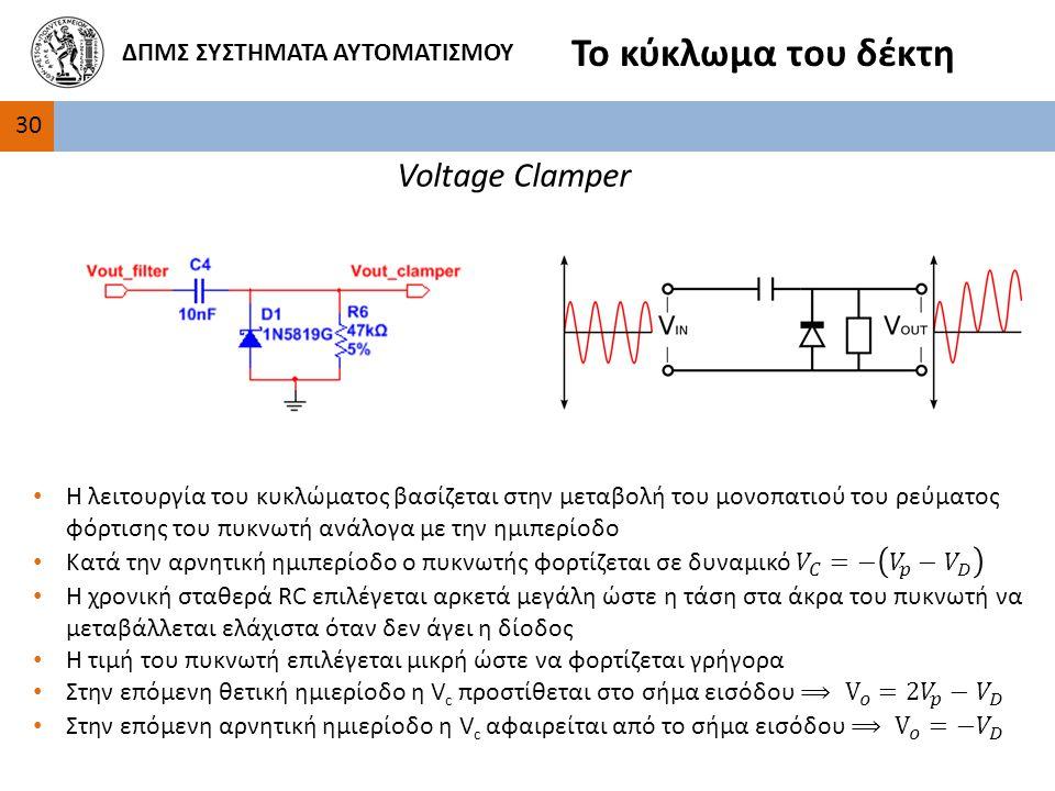 Το κύκλωμα του δέκτη Voltage Clamper ΔΠΜΣ ΣΥΣΤΗΜΑΤΑ ΑΥΤΟΜΑΤΙΣΜΟΥ 30