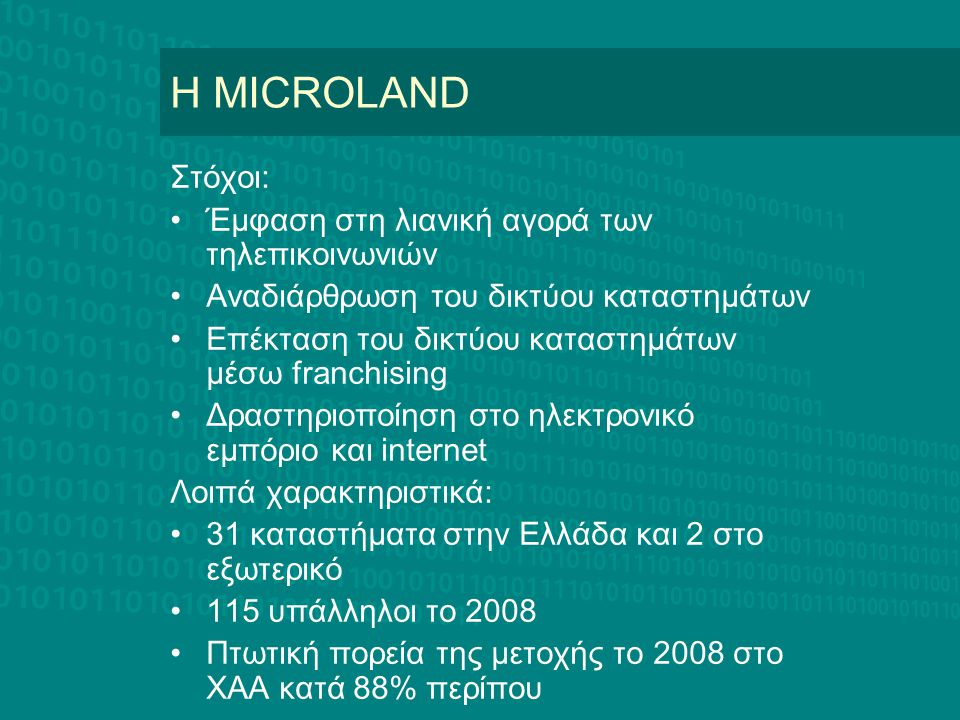 H MICROLAND Στόχοι: Έμφαση στη λιανική αγορά των τηλεπικοινωνιών